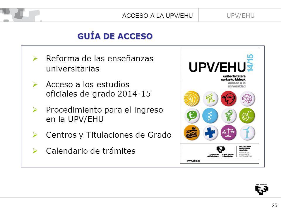 universitarias GUÍA DE ACCESO Reforma de las enseñanzas