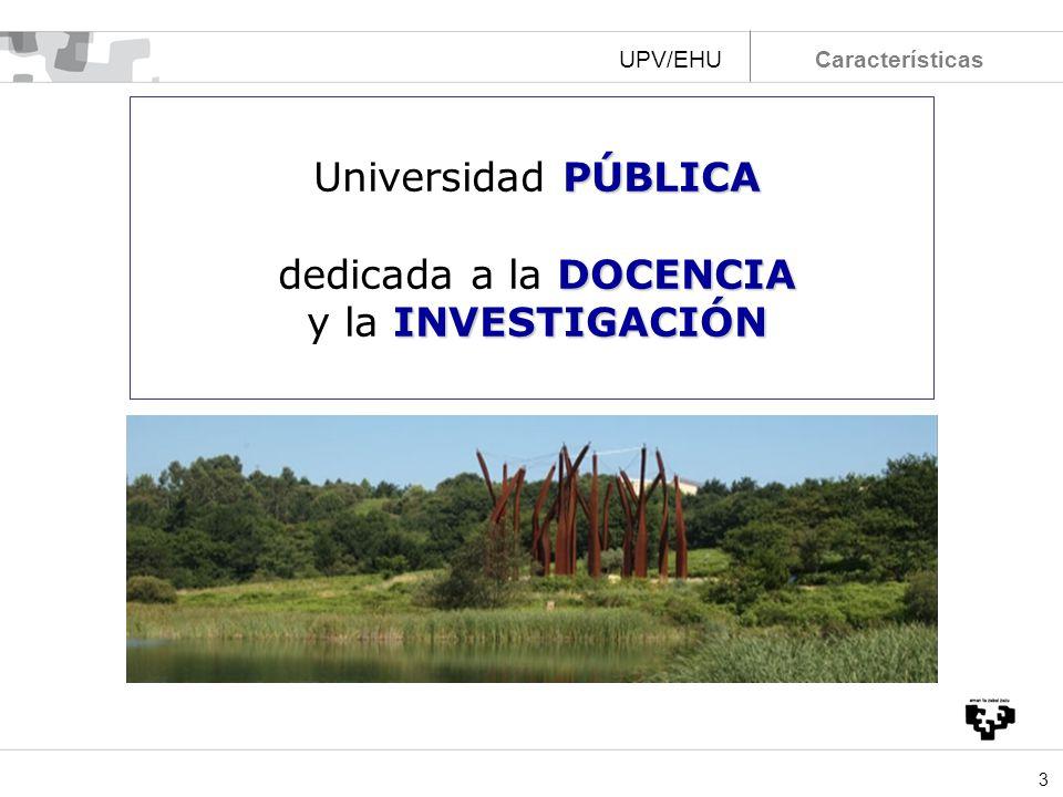 Universidad PÚBLICA dedicada a la DOCENCIA y la INVESTIGACIÓN UPV/EHU