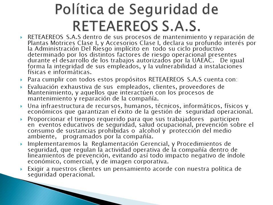 Política de Seguridad de RETEAEREOS S.A.S.