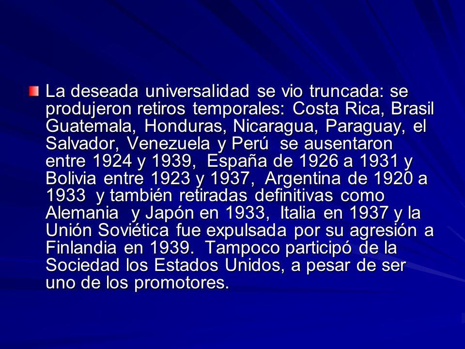 La deseada universalidad se vio truncada: se produjeron retiros temporales: Costa Rica, Brasil Guatemala, Honduras, Nicaragua, Paraguay, el Salvador, Venezuela y Perú se ausentaron entre 1924 y 1939, España de 1926 a 1931 y Bolivia entre 1923 y 1937, Argentina de 1920 a 1933 y también retiradas definitivas como Alemania y Japón en 1933, Italia en 1937 y la Unión Soviética fue expulsada por su agresión a Finlandia en 1939.