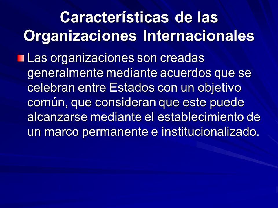 Características de las Organizaciones Internacionales