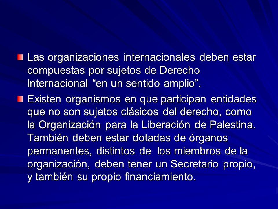 Las organizaciones internacionales deben estar compuestas por sujetos de Derecho Internacional en un sentido amplio .