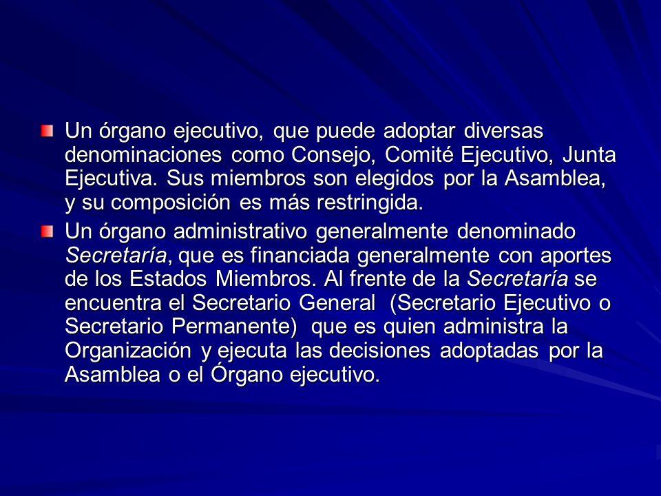 Un órgano ejecutivo, que puede adoptar diversas denominaciones como Consejo, Comité Ejecutivo, Junta Ejecutiva. Sus miembros son elegidos por la Asamblea, y su composición es más restringida.