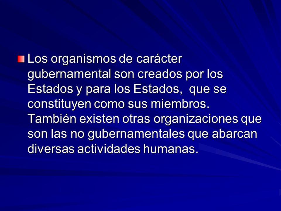 Los organismos de carácter gubernamental son creados por los Estados y para los Estados, que se constituyen como sus miembros.