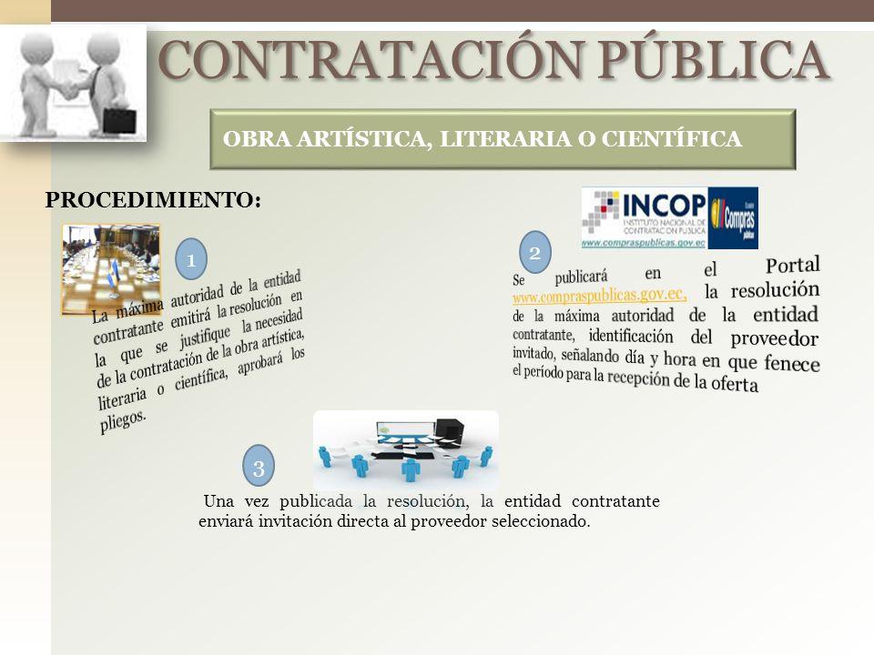 CONTRATACIÓN PÚBLICA OBRA ARTÍSTICA, LITERARIA O CIENTÍFICA