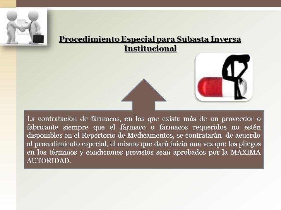 Procedimiento Especial para Subasta Inversa Institucional