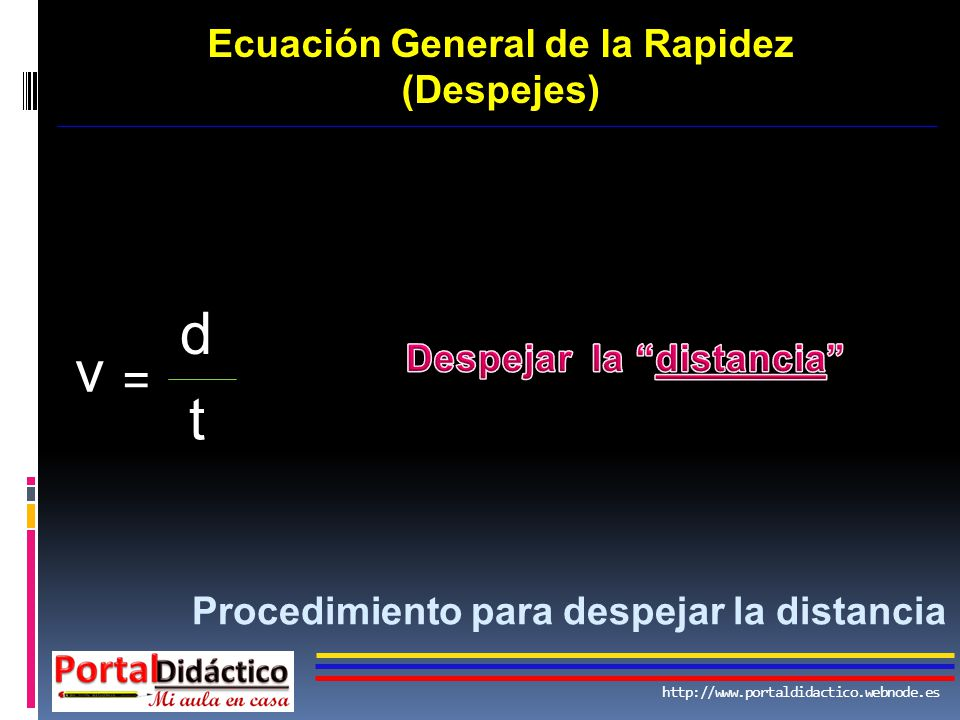 Ecuación General de la Rapidez Despejar la distancia