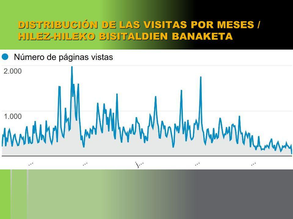 DISTRIBUCIÓN DE LAS VISITAS POR MESES / HILEZ-HILEKO BISITALDIEN BANAKETA