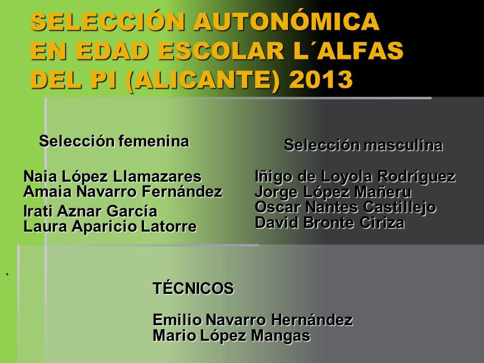 SELECCIÓN AUTONÓMICA EN EDAD ESCOLAR L´ALFAS DEL PI (ALICANTE) 2013