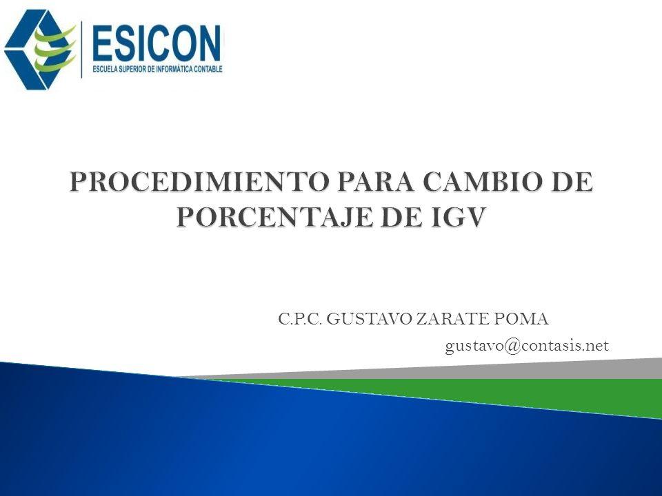 PROCEDIMIENTO PARA CAMBIO DE PORCENTAJE DE IGV