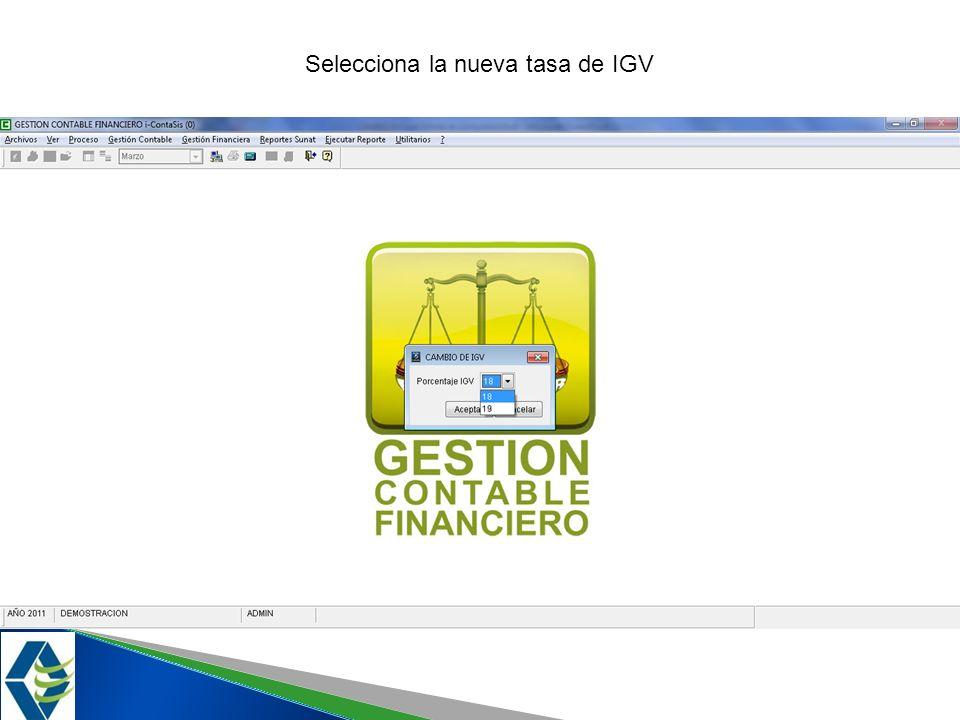 Selecciona la nueva tasa de IGV