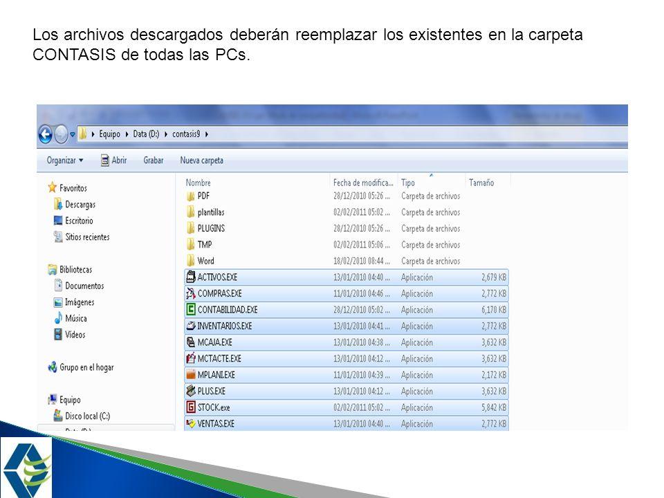 Los archivos descargados deberán reemplazar los existentes en la carpeta CONTASIS de todas las PCs.