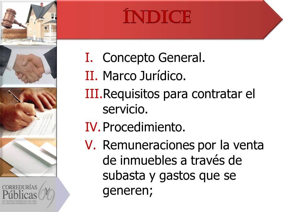 Índice Concepto General. Marco Jurídico.