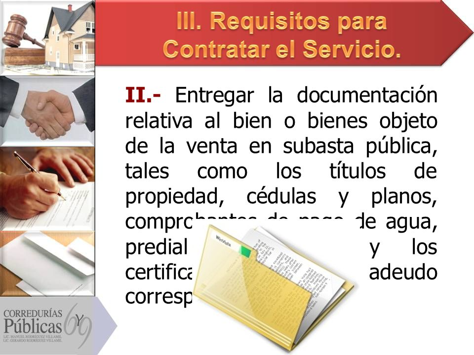 III. Requisitos para Contratar el Servicio.