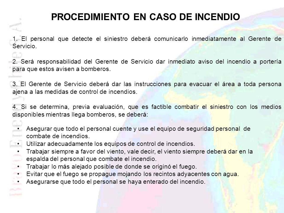 PROCEDIMIENTO EN CASO DE INCENDIO