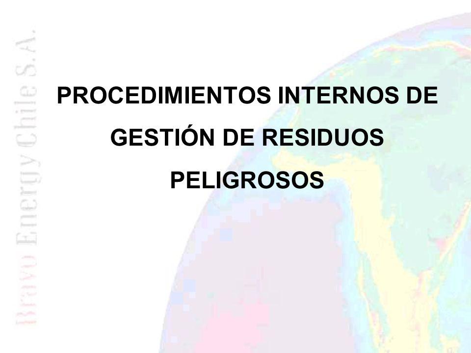 PROCEDIMIENTOS INTERNOS DE GESTIÓN DE RESIDUOS PELIGROSOS