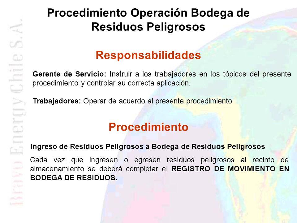 Procedimiento Operación Bodega de Residuos Peligrosos