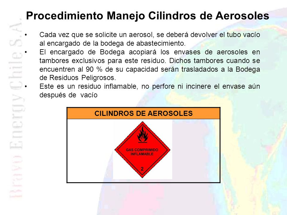 Procedimiento Manejo Cilindros de Aerosoles