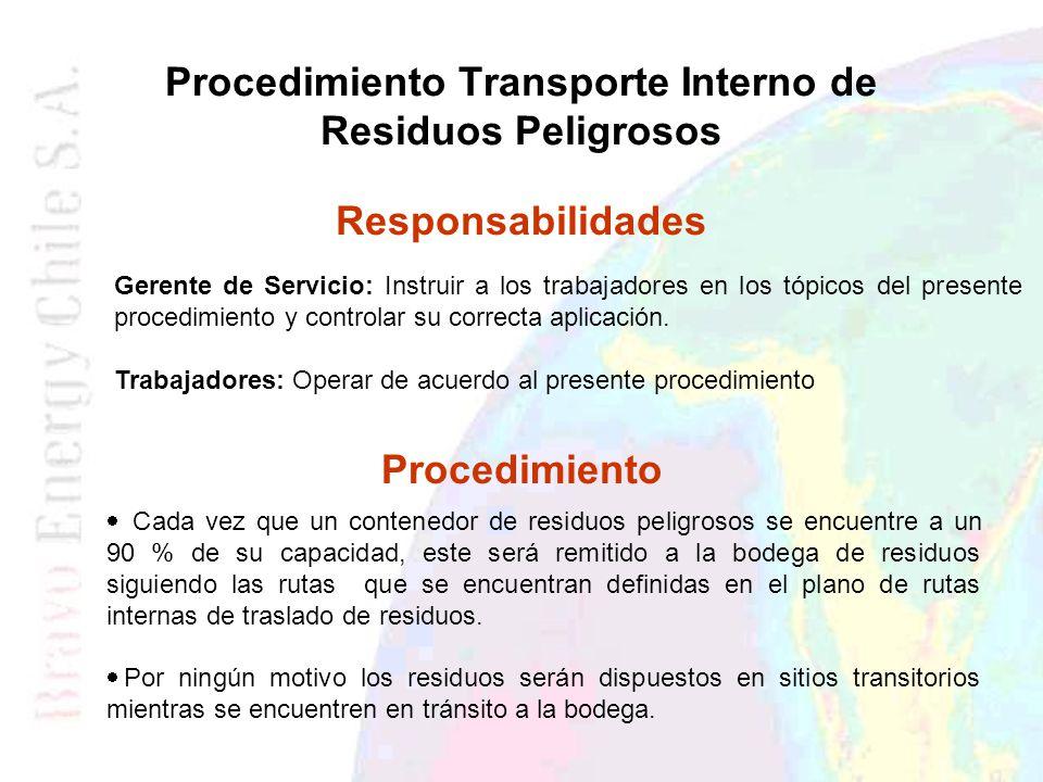 Procedimiento Transporte Interno de Residuos Peligrosos