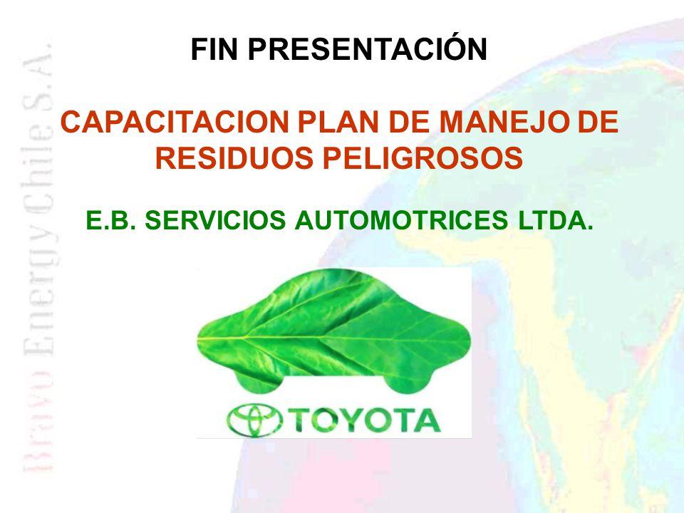 FIN PRESENTACIÓN CAPACITACION PLAN DE MANEJO DE RESIDUOS PELIGROSOS