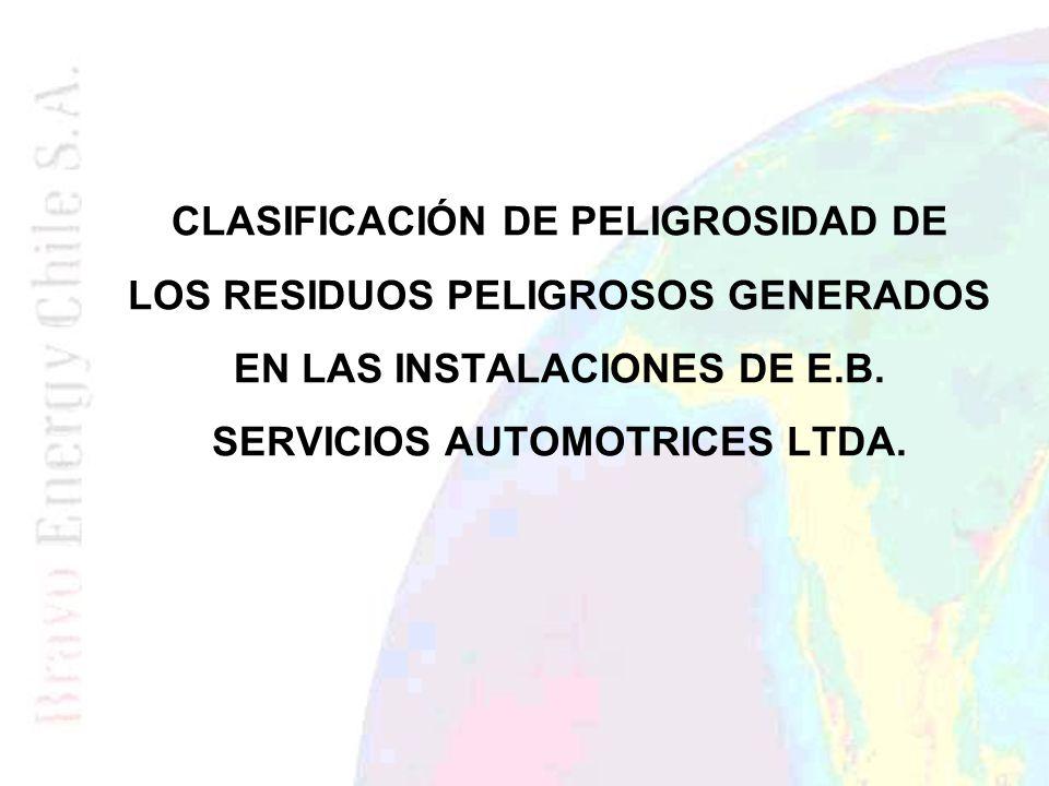 CLASIFICACIÓN DE PELIGROSIDAD DE LOS RESIDUOS PELIGROSOS GENERADOS EN LAS INSTALACIONES DE E.B.