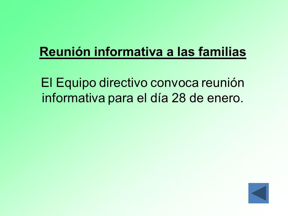Reunión informativa a las familias