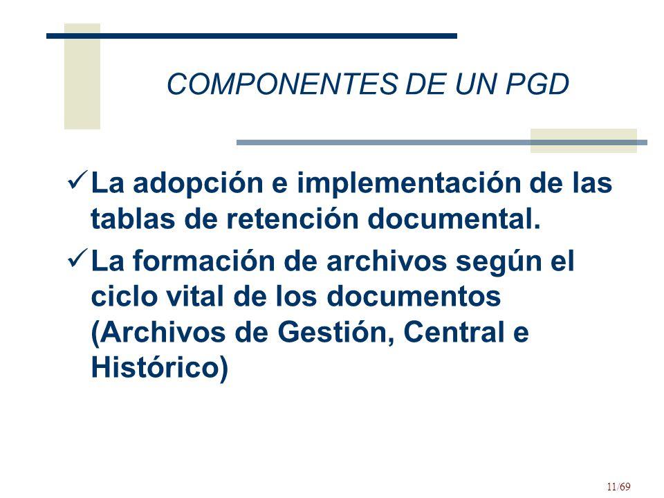 COMPONENTES DE UN PGD La adopción e implementación de las tablas de retención documental.