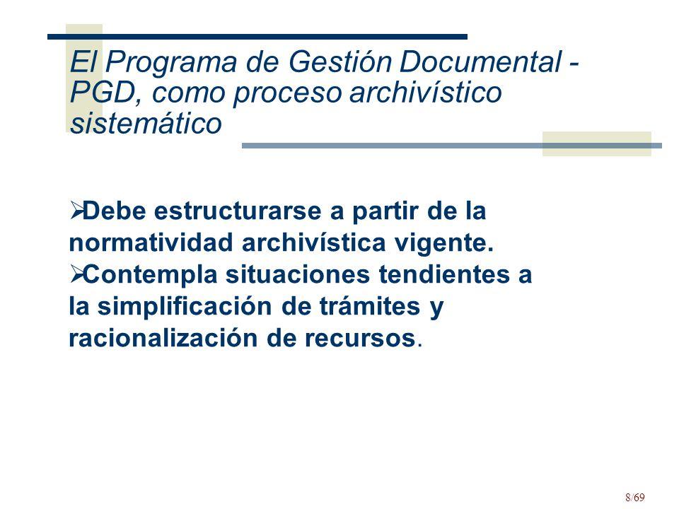 El Programa de Gestión Documental - PGD, como proceso archivístico sistemático