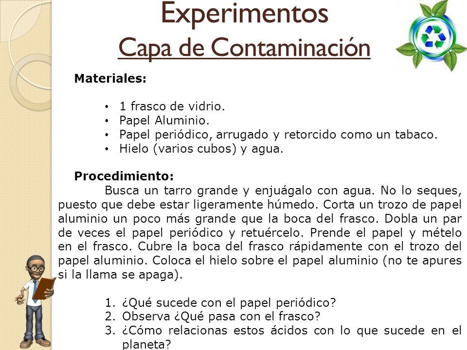 Experimentos Capa de Contaminación Materiales: 1 frasco de vidrio.