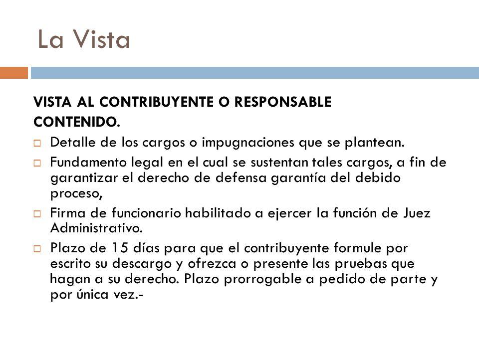 La Vista VISTA AL CONTRIBUYENTE O RESPONSABLE CONTENIDO.