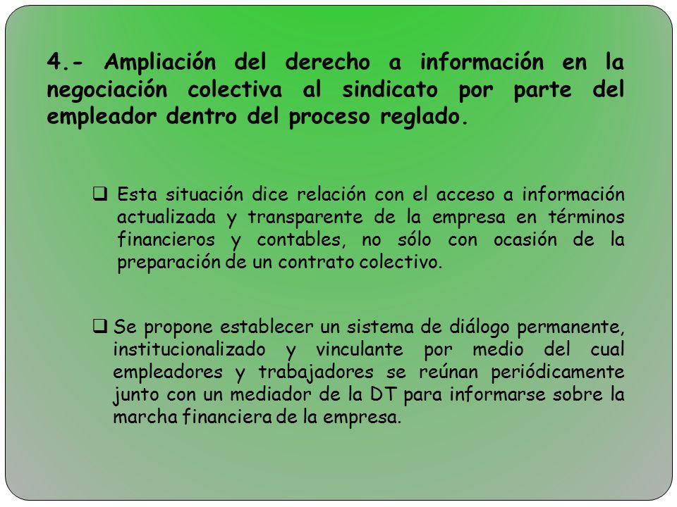 4.- Ampliación del derecho a información en la negociación colectiva al sindicato por parte del empleador dentro del proceso reglado.