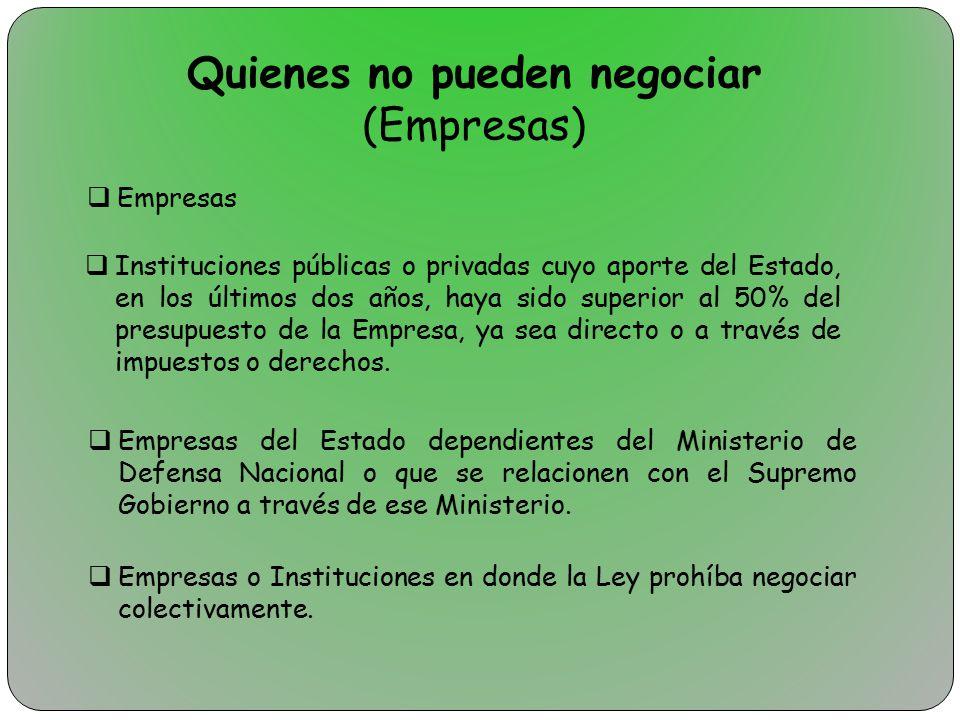 Quienes no pueden negociar (Empresas)