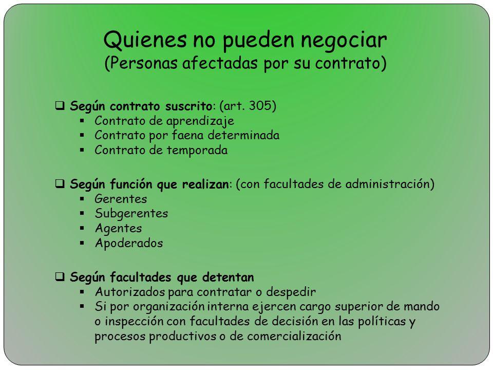Quienes no pueden negociar (Personas afectadas por su contrato)