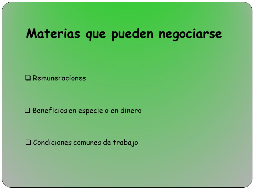Materias que pueden negociarse
