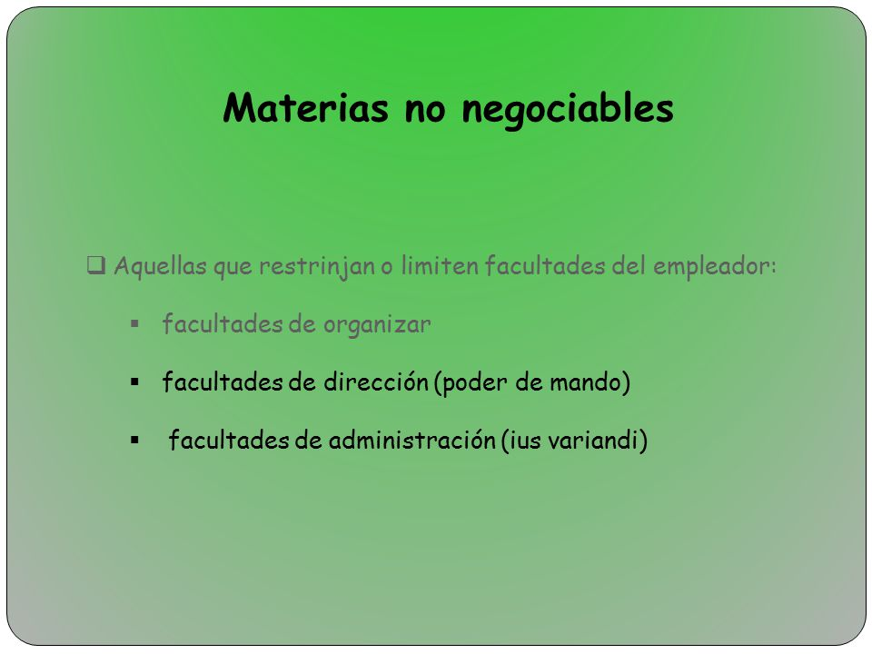 Materias no negociables