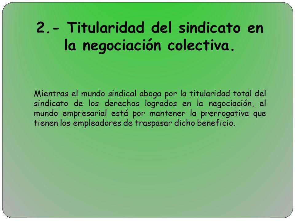 2.- Titularidad del sindicato en la negociación colectiva.