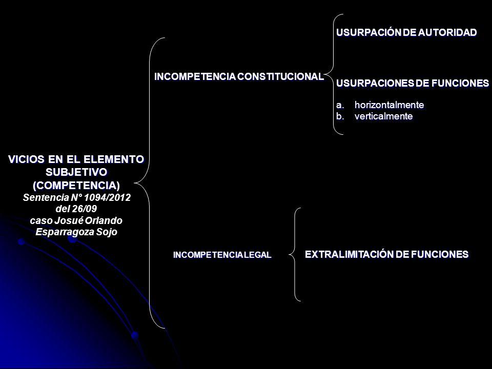 VICIOS EN EL ELEMENTO SUBJETIVO (COMPETENCIA)