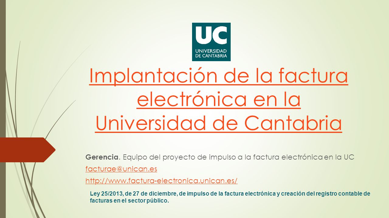 Implantación de la factura electrónica en la Universidad de Cantabria