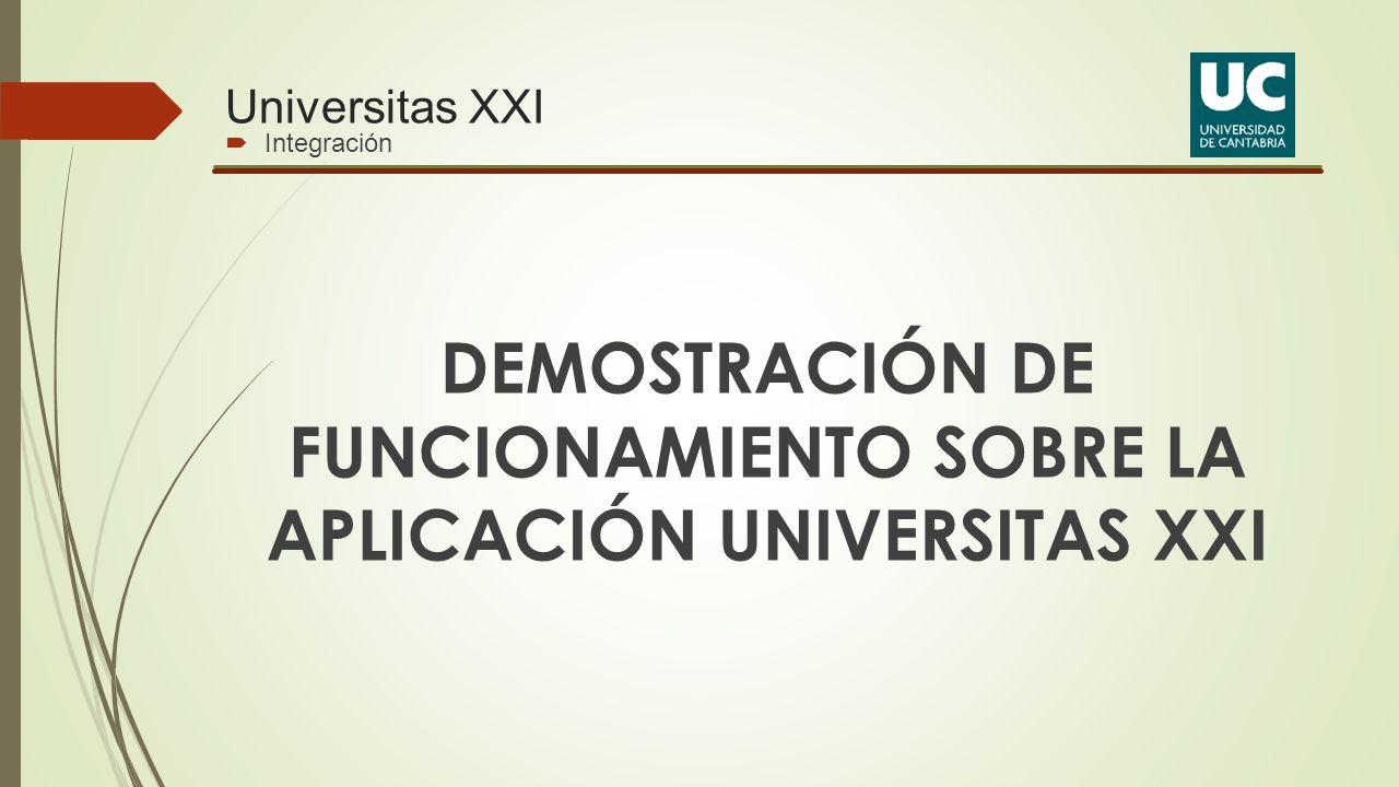DEMOSTRACIÓN DE FUNCIONAMIENTO SOBRE LA APLICACIÓN UNIVERSITAS XXI