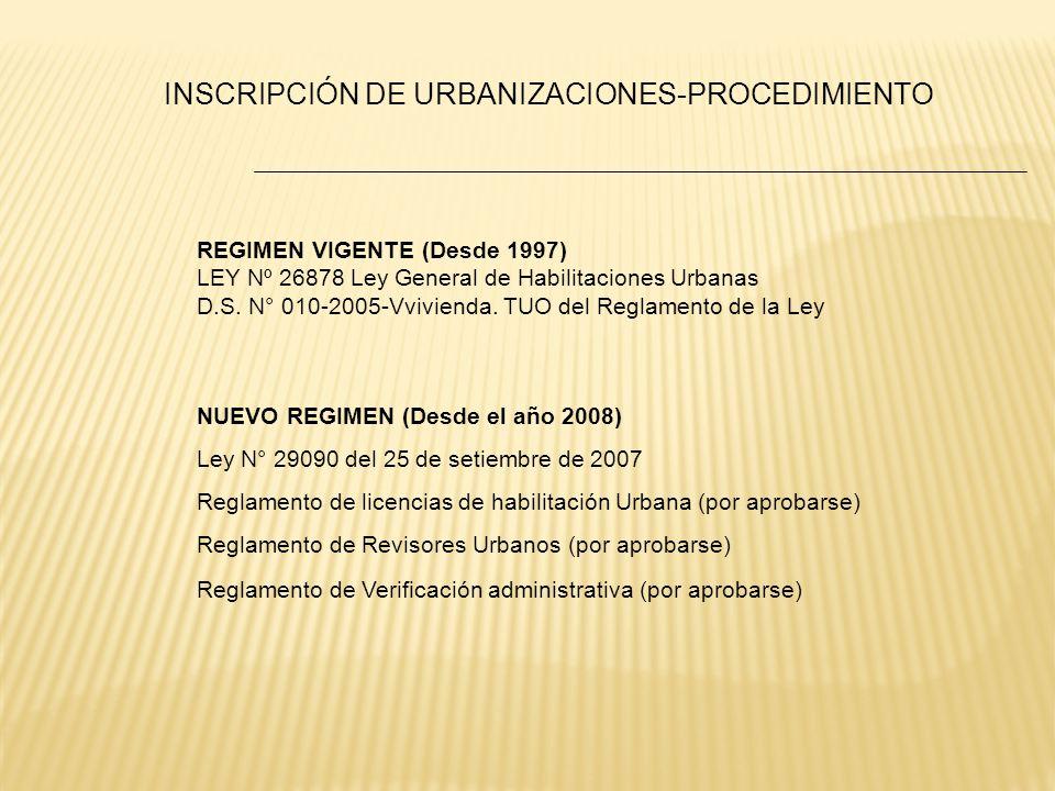 INSCRIPCIÓN DE URBANIZACIONES-PROCEDIMIENTO