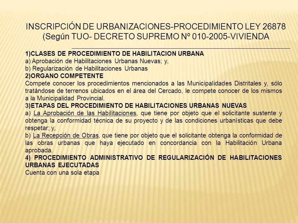 INSCRIPCIÓN DE URBANIZACIONES-PROCEDIMIENTO LEY 26878 (Según TUO- DECRETO SUPREMO Nº 010-2005-VIVIENDA