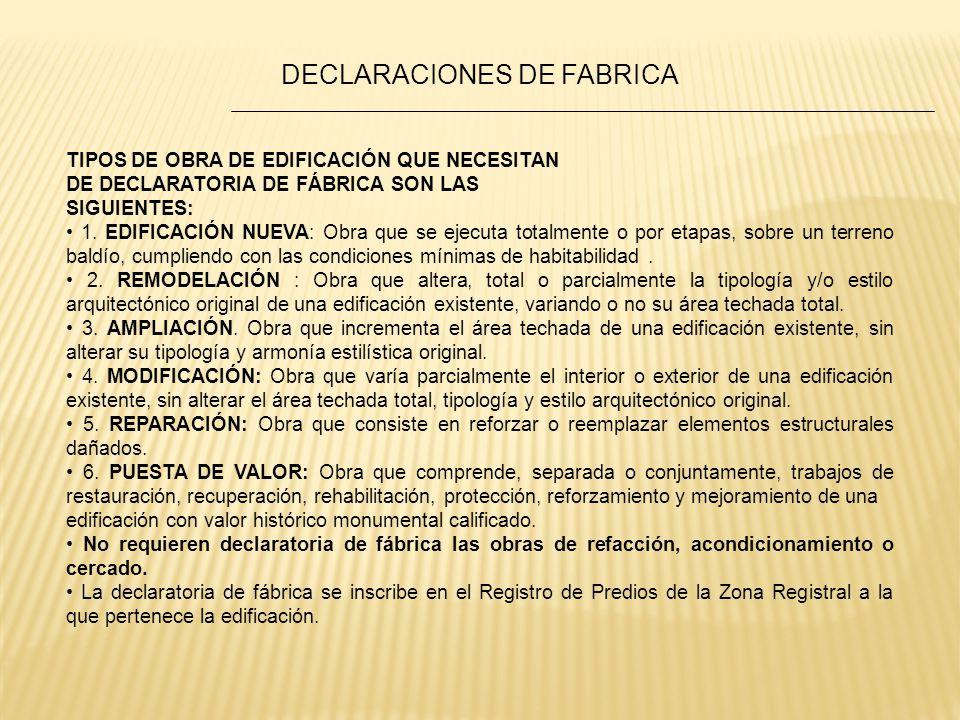 DECLARACIONES DE FABRICA
