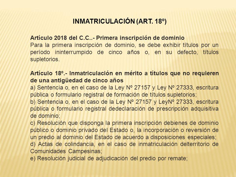 INMATRICULACIÓN (ART. 18º)