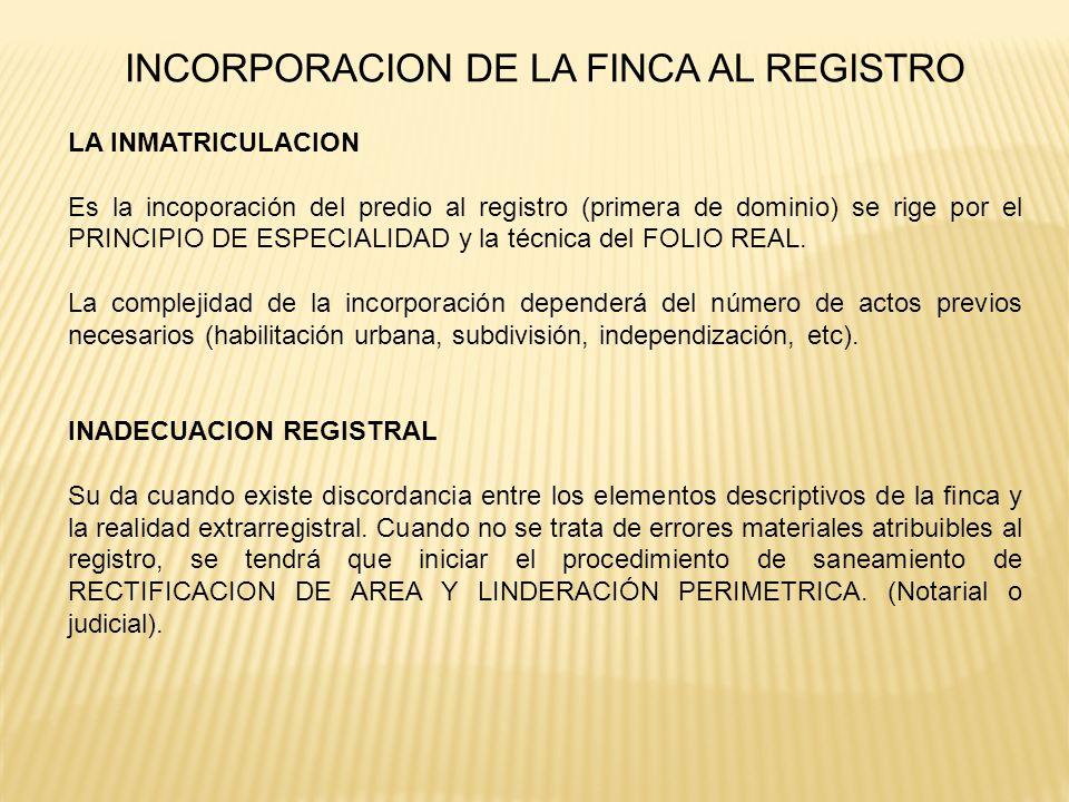 INCORPORACION DE LA FINCA AL REGISTRO