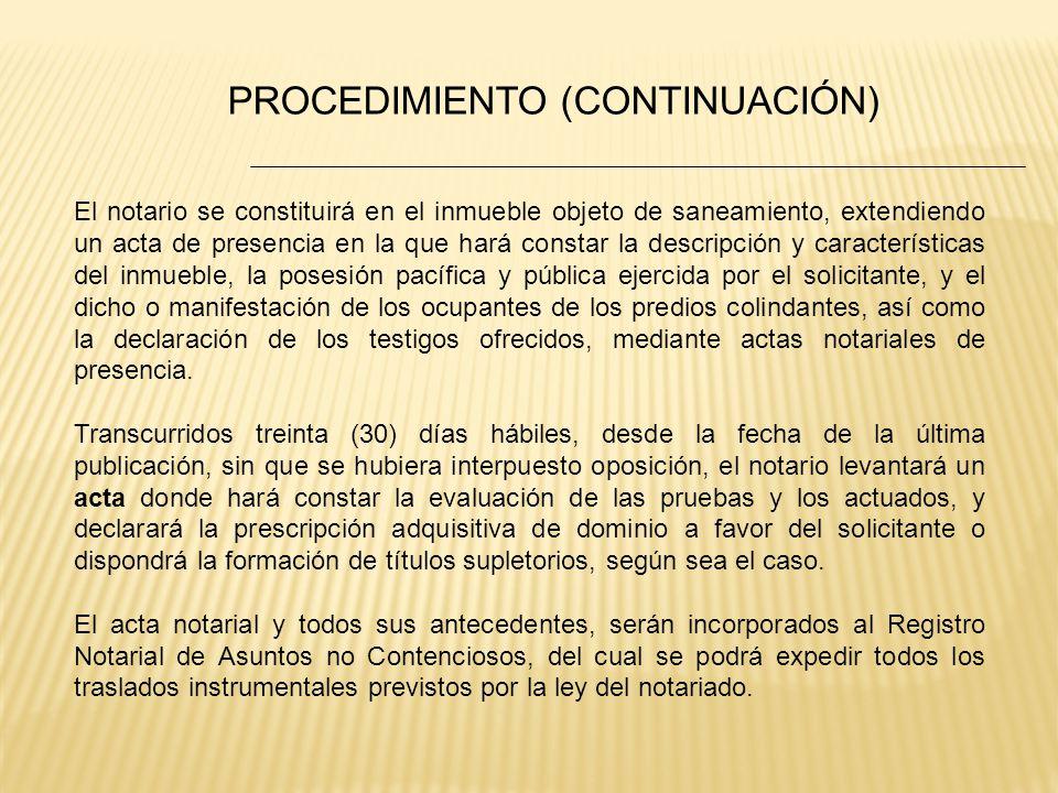 PROCEDIMIENTO (CONTINUACIÓN)