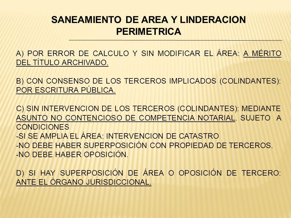 SANEAMIENTO DE AREA Y LINDERACION PERIMETRICA