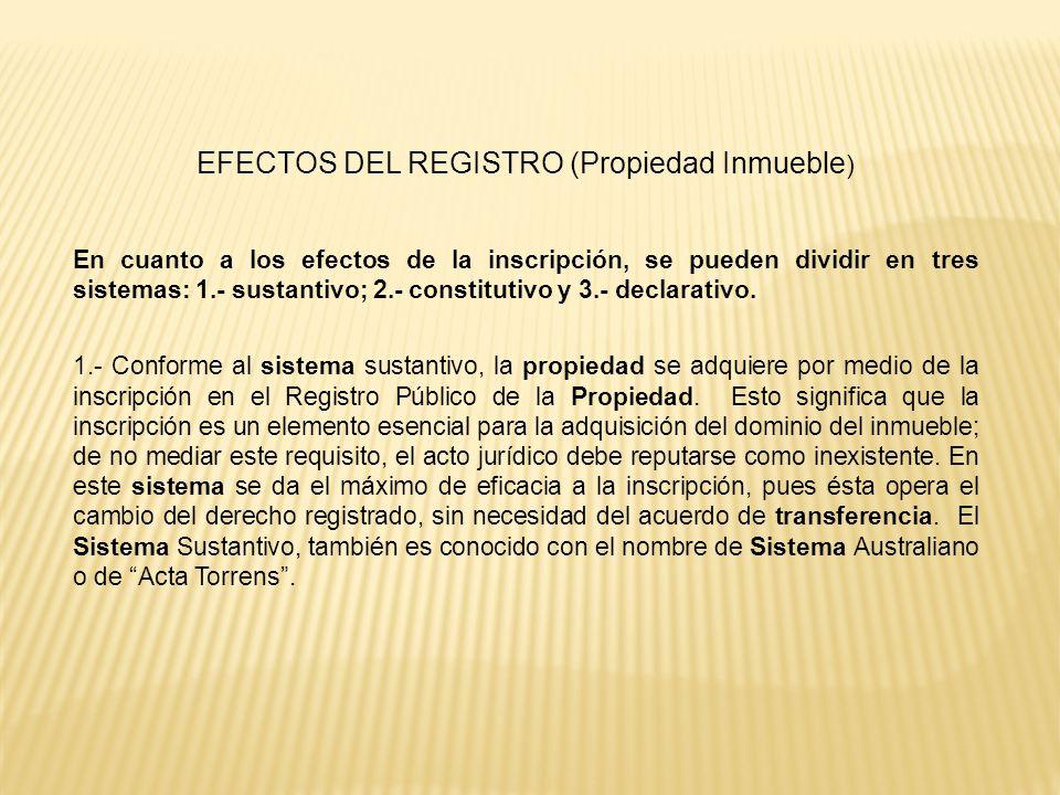 EFECTOS DEL REGISTRO (Propiedad Inmueble)