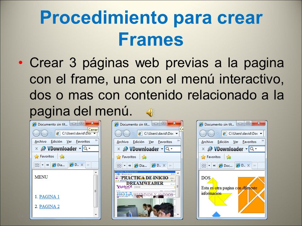 Procedimiento para crear Frames