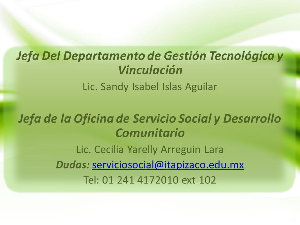 Jefa Del Departamento de Gestión Tecnológica y Vinculación
