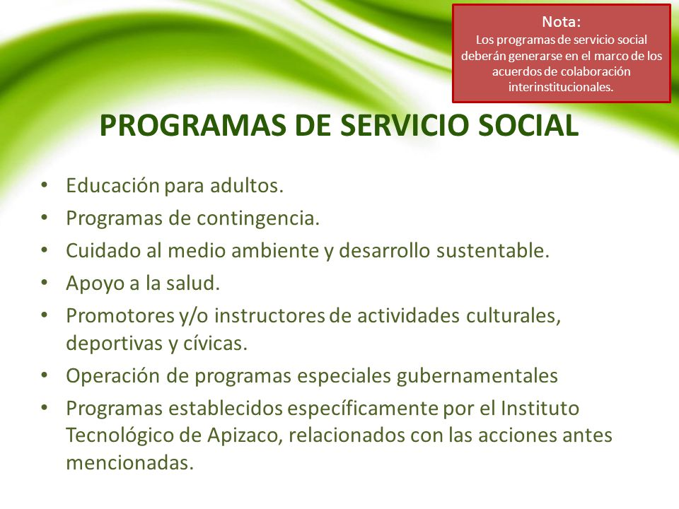 PROGRAMAS DE SERVICIO SOCIAL